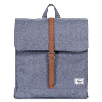 Herschel City Rugzak Mid-Volume Dark Chambray Crosshatch/Tan Synthetic Leather