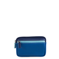 Mywalit Small Leather Double Zip Purse Portemonnee Denim