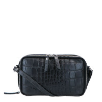 LouLou Essentiels Vintage Croco Silver Camera Bag Black