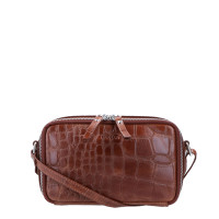 LouLou Essentiels Vintage Croco Silver Camera Bag Cognac