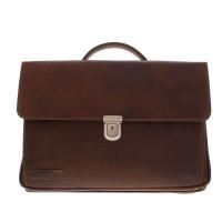 "Plevier Vintage Laptoptas 3-vaks 17"" Brown 36"