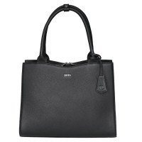 "Socha Diamond Leather Businessbag 10-14"" Black"