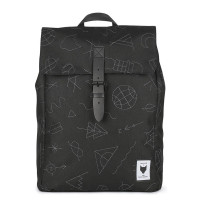The Pack Society The Square Backpack Rugzak Collaboration Black With Grey Embroidery