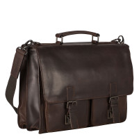 Leonhard Heyden Dakota Briefcase 2 Compartments Brown 2826