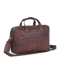 "Chesterfield Ryan Laptop Schoudertas Large 17"" Brown"
