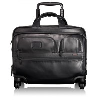 Tumi Alpha 2 Business Leather 4-Wheeled Deluxe Brief With Laptop Case Black