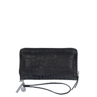 LouLou Essentiels Vintage Croco Silver Mobile Wallet Black
