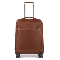 Piquadro Black Square Laptop/iPad Slim Cabin 4-Wheel Trolley Tobacco