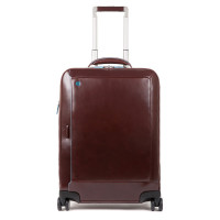"Piquadro Blue Square Cabin Trolley Front Pocket 15.6"" Mahogany"
