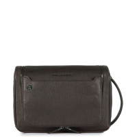 Piquadro Black Square Toiletry Bag With Hanging Hook Dark Brown