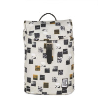 The Pack Society The Small Backpack Beige Blocks Allover
