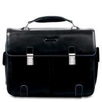 "Piquadro Blue Square Computer Briefcase 15.6"" Black"