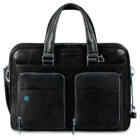 "Piquadro Blue Square Expandable Computer Case 15"" Black"
