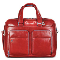 "Piquadro Blue Square Expandable Computer Case 15"" Red"