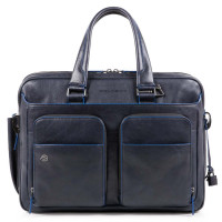 "Piquadro Blue Square S Matte Expandable Computer 15"" Briefcase Blue"