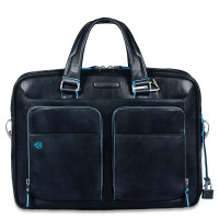 "Piquadro Blue Square Portfolio Computer Briefcase 15"" with iPad Night Blue"