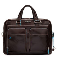 "Piquadro Blue Square Portfolio Computer Briefcase 15"" with iPad Mahogany"