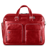 "Piquadro Blue Square Portfolio Computer Briefcase 15"" with iPad Red"