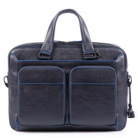 Piquadro Blue Square S Matte Portfolio Computer Briefcase with iPad Blue
