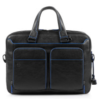 Piquadro Blue Square S Matte Portfolio Computer Briefcase with iPad Black