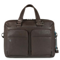"Piquadro Black Square Portfolio Computer Briefcase 15"" Dark Brown"