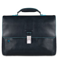 "Piquadro Blue Square Expandable Computer Portfolio Briefcase 15"" Night Blue"