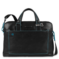 "Piquadro Blue Square Double Handle Computer Portfolio Briefcase 14"" Black"
