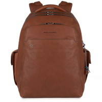 Piquadro Black Square Laptop Backpack 15'' Tobacco
