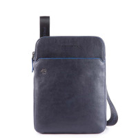 "Piquadro Blue Square S Matte Crossbody Bag iPad 10"" Night Blue"