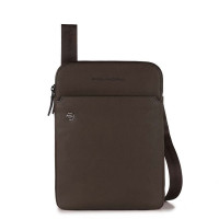 Piquadro Black Square Crossbody Bag iPad Air/Pro Dark Brown