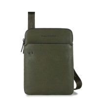 Piquadro Black Square Crossbody Bag iPad Air/Pro Olive Green