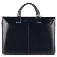 "Piquadro Blue Square Expandable Slim Computer Bag 15.6"" Night Blue"
