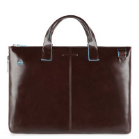 "Piquadro Blue Square Expandable Slim Computer Bag 15.6"" Mahogany"