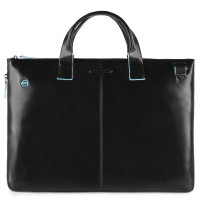 "Piquadro Blue Square Expandable Slim Computer Bag 15.6"" Black"