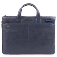"Piquadro Blue Square S Matte Expandable Slim Computer Bag 15.6"" Blue"