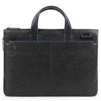 "Piquadro Blue Square S Matte Expandable Slim Computer Bag 15.6"" Black"
