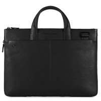 Piquadro Black Square Small Expandable Computer Bag 15.6'' Black