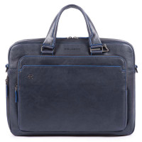 Piquadro Blue Square Portfolio Computer Briefcase Night Blue