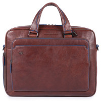 Piquadro Blue Square S Matte Portfolio Computer Briefcase Dark Brown