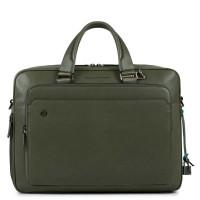 """Piquadro Black Square Briefcase 15"""" Olive Green"""
