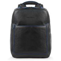 "Piquadro Blue Square S Matte Fast Check Computer 15.6"" Backpack Black"
