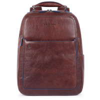 "Piquadro Blue Square S Matte Fast Check Computer 15.6"" Backpack Dark Brown"