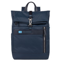"Piquadro PQ-BIO Nylon Roll Top PC Backpack 15.6"" Blue"