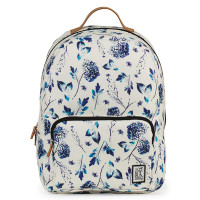 The Pack Society The Classics Rugzak Off White Blue Flower Allover