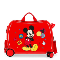 Disney Rolling Suitcase 4 Wheels Enjoy The Day Mickey Mouse Twister Red