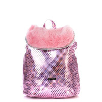 Spiral Liberty Backpack Pink Polka Faux Fur