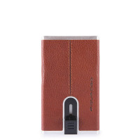 Piquadro Black Square Compact Wallet For Banknotes And Creditcards Tobacco