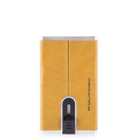 Piquadro Black Square Compact Wallet For Banknotes And Creditcards Yellow