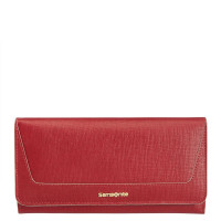 Samsonite Lady Saffiano II SLG Lady Wallet 14CC Zip Coin Rubin Red