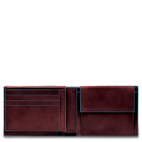 Piquadro Blue Square Men's Wallet With Flip Up With ID/Coin Pocket Mahogany